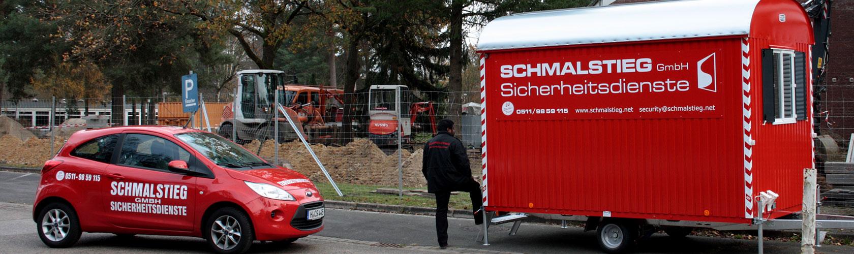 Inhaltsbild Baustellenbewachung Security Bauwagen und Einsatzfahrzeug in Hannover am Objekt